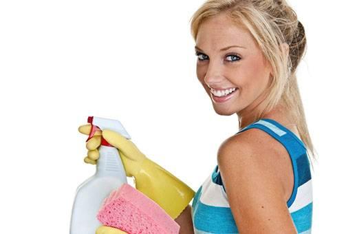 Девушка с моющим средством