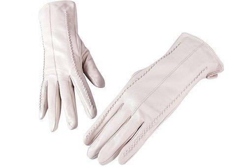 белые перчатки из кожи