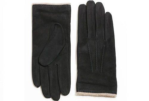 черные перчатки из замша