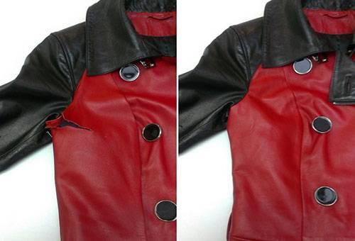 Кожаная куртка до и после ремонта