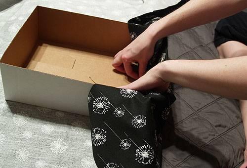 Обтягивание коробки тканью