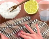 Удаление пятна от сока лимонной кислотой