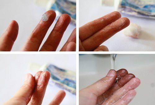 удаление краски с кожи зубной пастой
