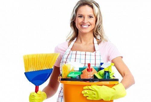 женщина с моющими средствами