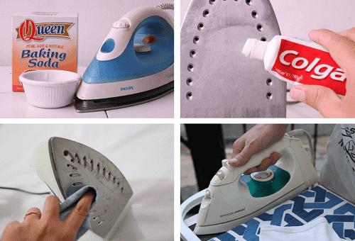 чистка утюга зубной пастой и содой