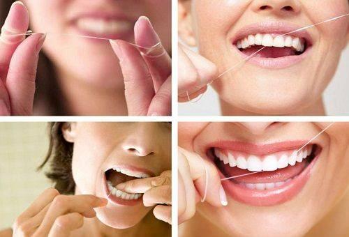чистка зубов нитью