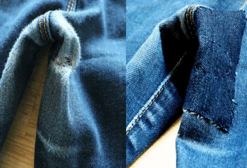 джинсы до и после пришивания заплатки