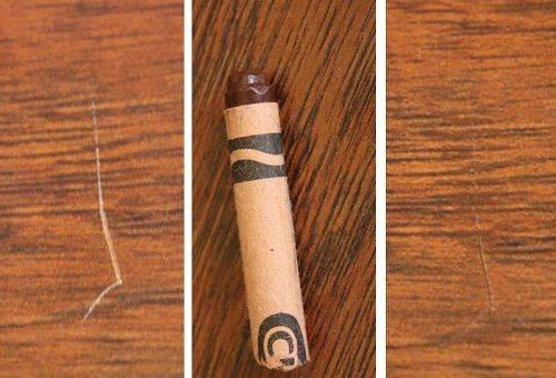убрать царапины на мебели карандашом