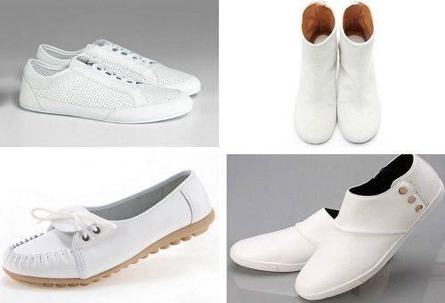 разнообразная белая обувь