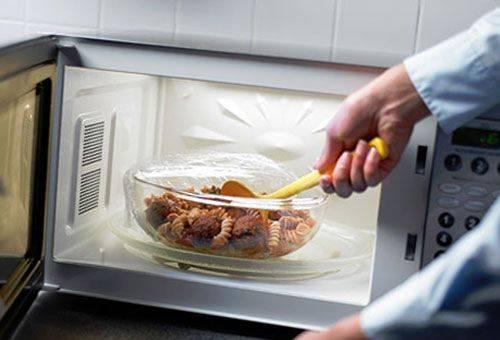 разогревание пищи в микроволновке