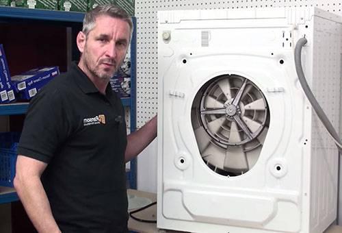 Мужчина разбирает стиральную машину
