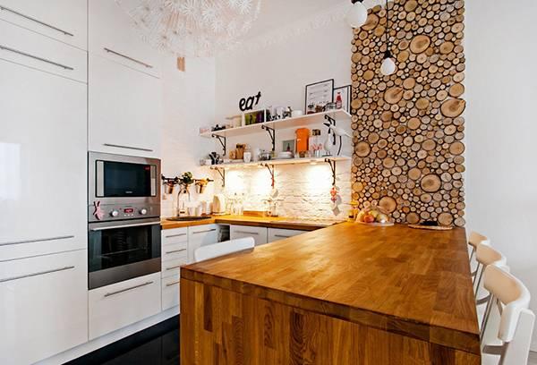 Дерево в декоре интерьера кухни
