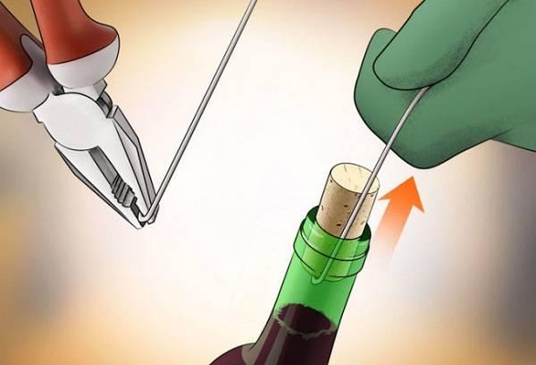 извлечение пробки из бутылки стальной проволокой