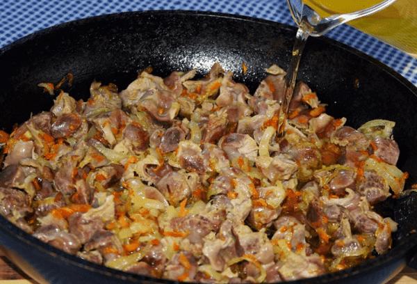 жареные куриные желудки