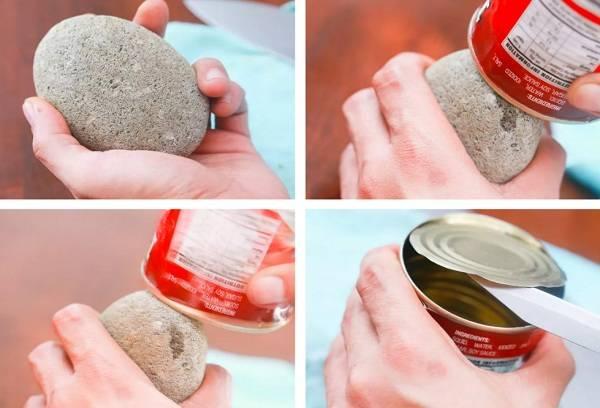 Открыть банку камнем