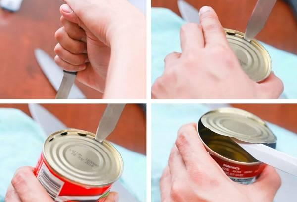 Открыть банку с помощью карманного ножа