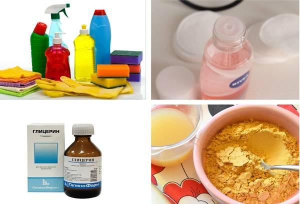 желе для мытья посуды, горчичный порошок , жидкость для снятия макияжа и глицерин