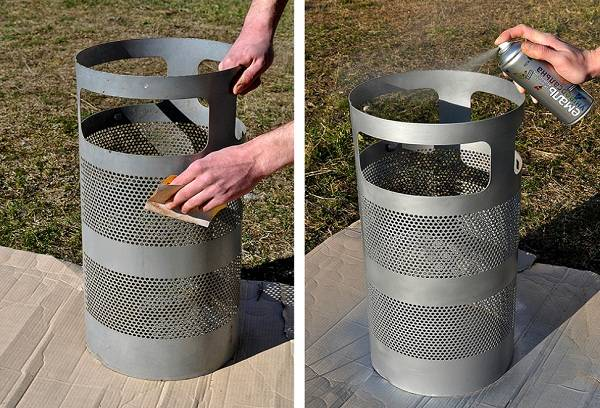 очистка и окрашивание мусорного ящика из металла