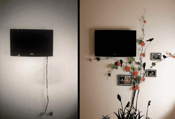 спрятанные провода телевизора под цветами