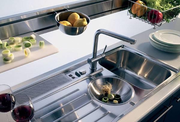 Металлическая кухонная раковина