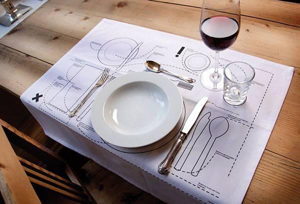 Салфетка со схемой размещения столовых приборов