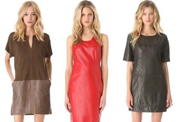 Модели в кожаных платьях