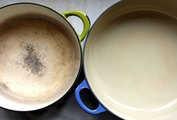 Эмалированная посуда до и после очистки