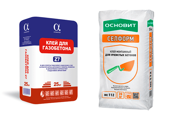 Два вида клея для газобетона