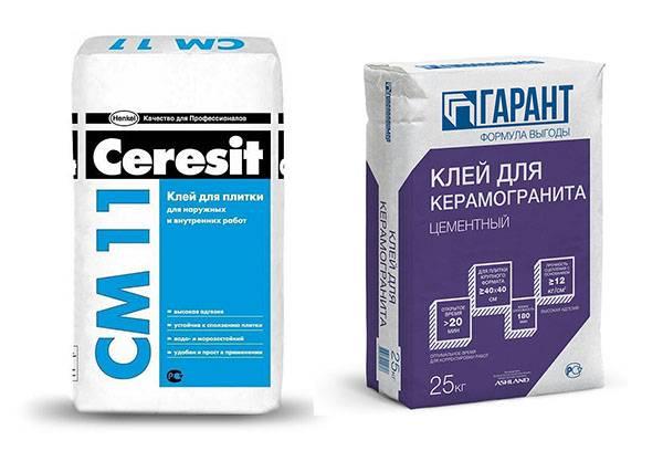 Два вида клея для керамогранита