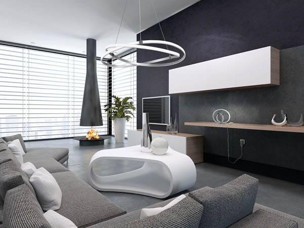 комната с подвесным светильником