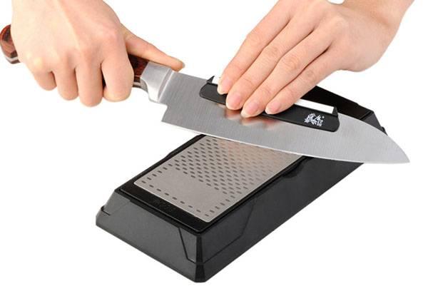 Заточка ножа на алмазном бруске