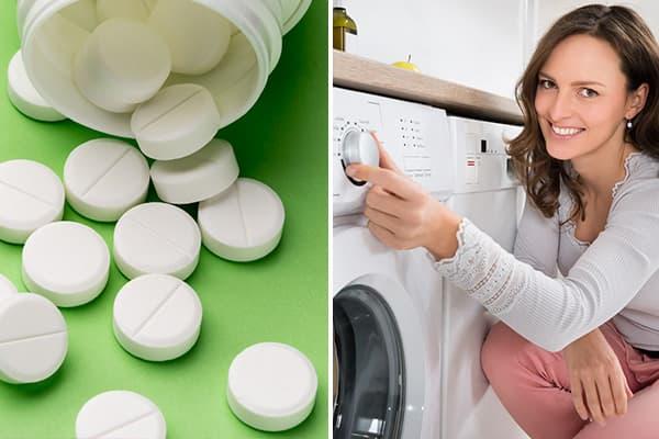 Стирка белья с аспирином в стиральной машине