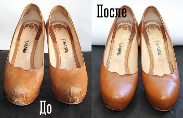 Кожаные туфли до и после покраски