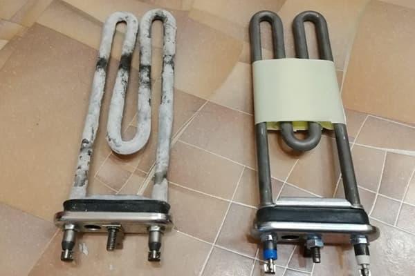 Старый и новый ТЭН для стиральной машины