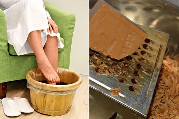 Ванночка для ног с хозяйственным мылом