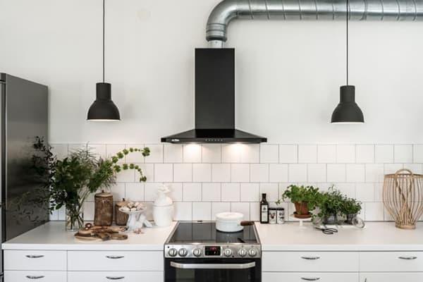 Вытяжка на кухне в скандинавском стиле