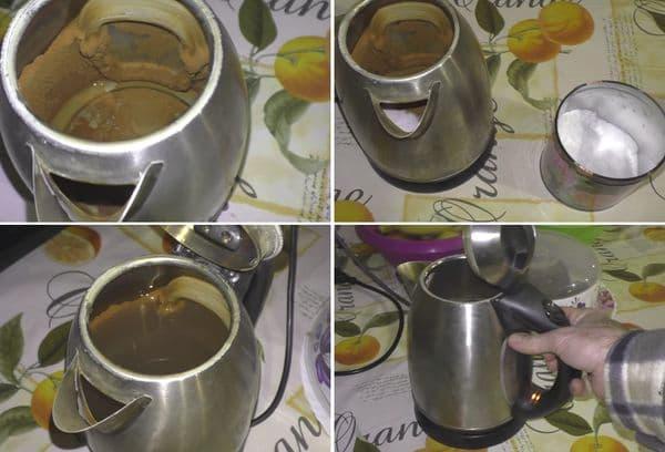 Чистка чайника содой