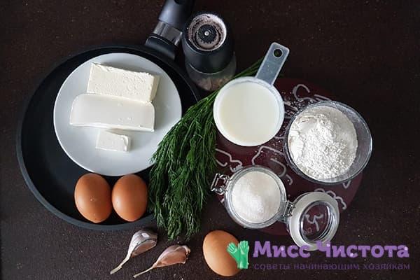 Ингредиенты для сырных блинов