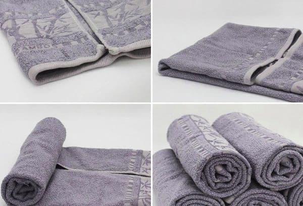 Складывание полотенца в рулон