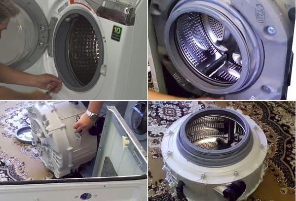 извлечение бака стиральной машины