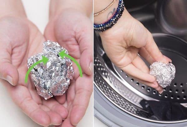 Машинная стирка шариком из фольги