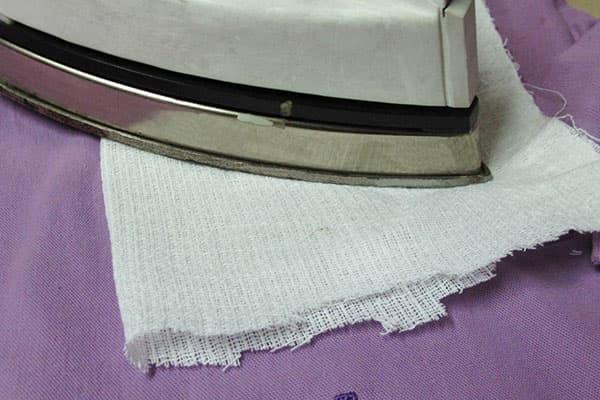 Удаление силиконового пятна утюгом и марлей