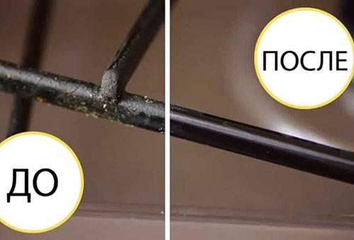 Чистка решетки газовой плиты - до и после