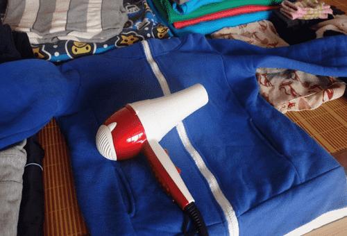 сушка одежды феном