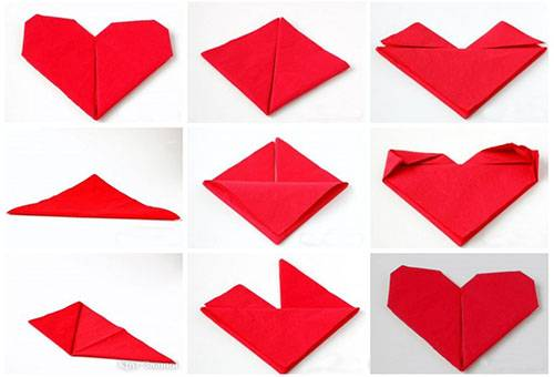 Схема сложения салфетки в форме сердечка