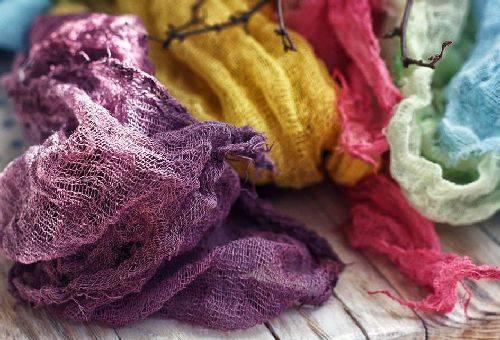 окрашенния ткани в разных цветах