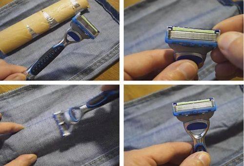 процесс натачивания бритвы