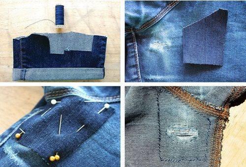 пришивание заплатки на джинсы