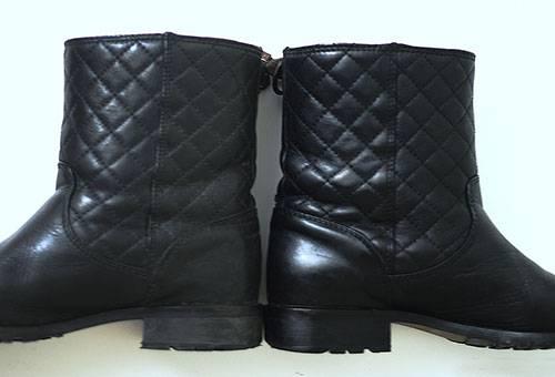 Кожаные сапоги до и после чистки