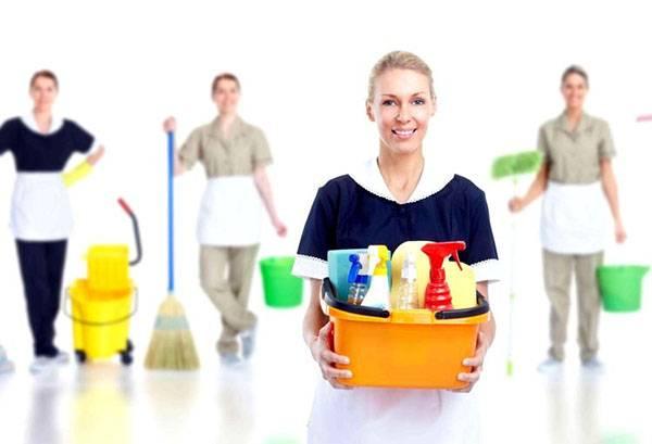 Специалисты клининговой компании с инвентарем для уборки
